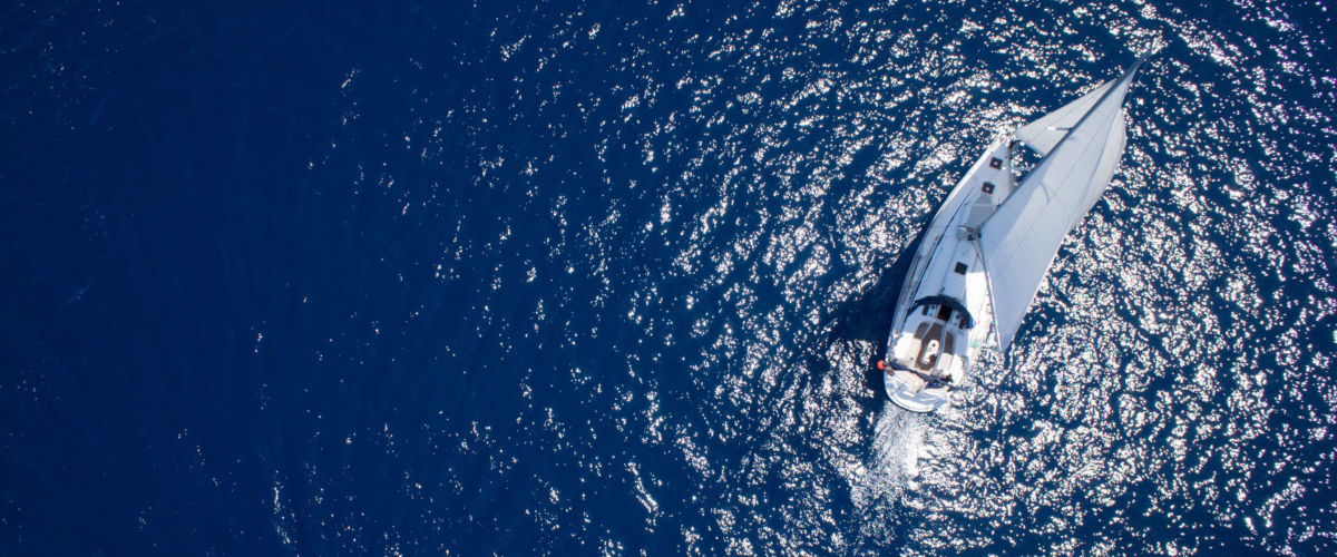 Aerial view of sailboat